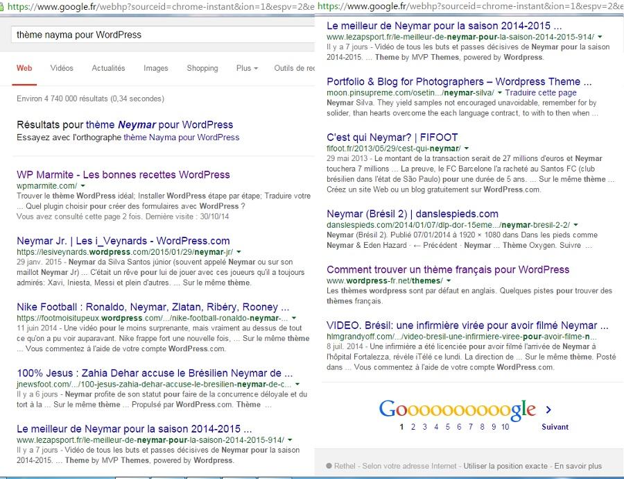 Voici un exemple dans lequel Google affiche des résultats peu probants
